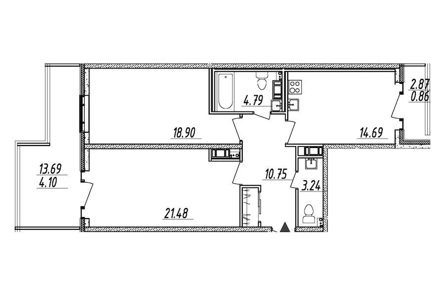 2-комнатная 78 м<sup>2</sup> на 9 этаже