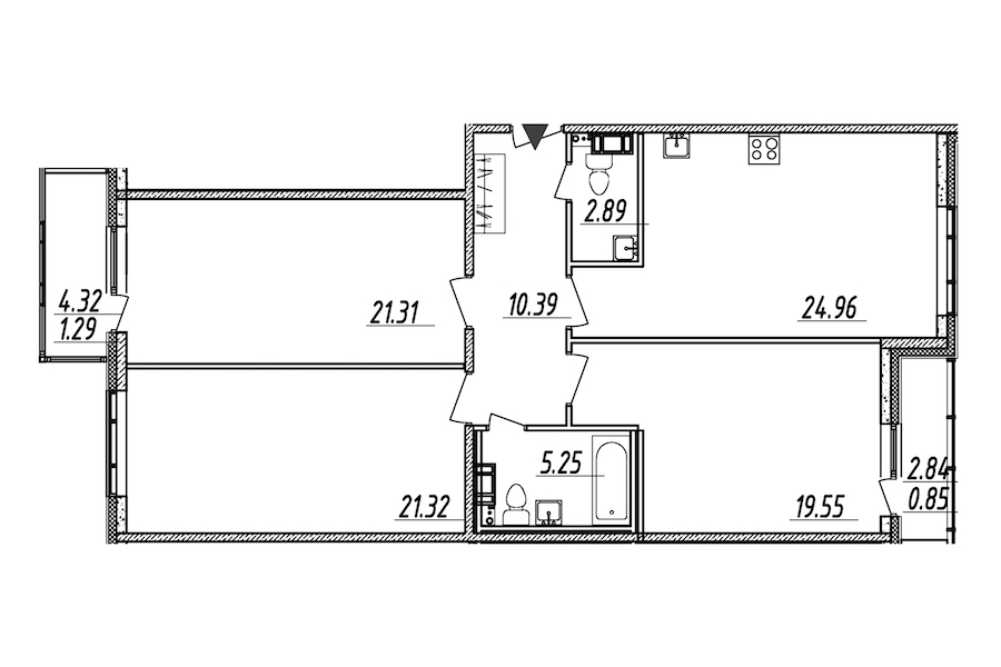 3-комнатная 107 м<sup>2</sup> на 5 этаже