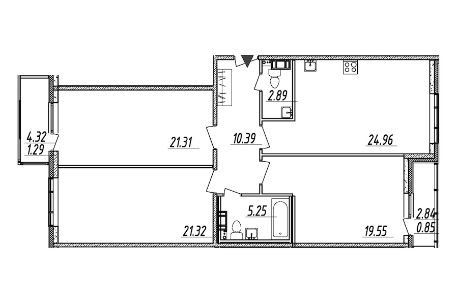 3-комнатная 107 м<sup>2</sup> на 6 этаже