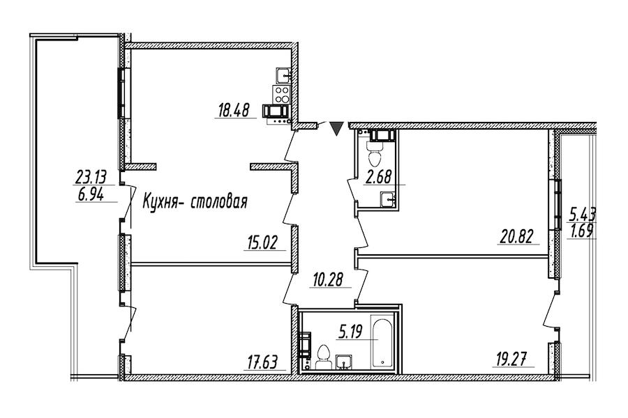 4-комнатная 118 м<sup>2</sup> на 9 этаже