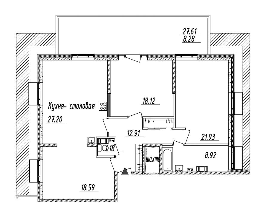 3-комнатная 117 м<sup>2</sup> на 10 этаже