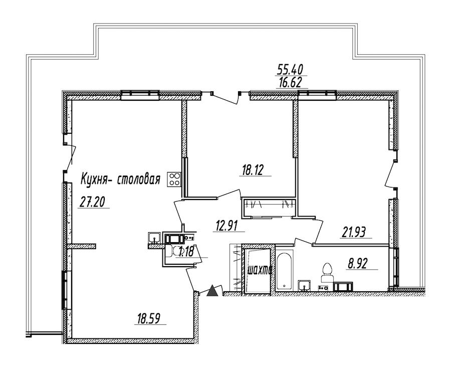 3-комнатная 125 м<sup>2</sup> на 9 этаже