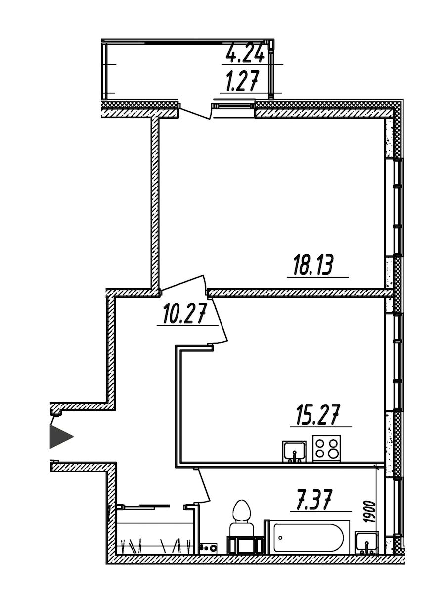 1-комнатная 52 м<sup>2</sup> на 7 этаже
