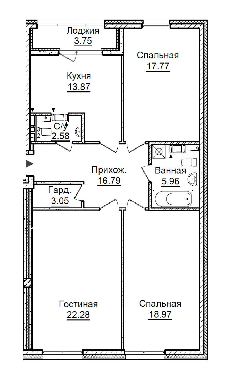 3-комнатная 103 м<sup>2</sup> на 3 этаже