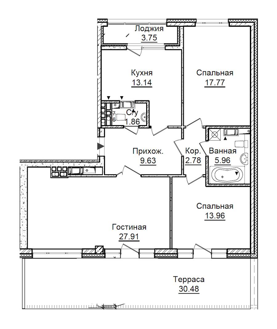 3-комнатная 104 м<sup>2</sup> на 7 этаже