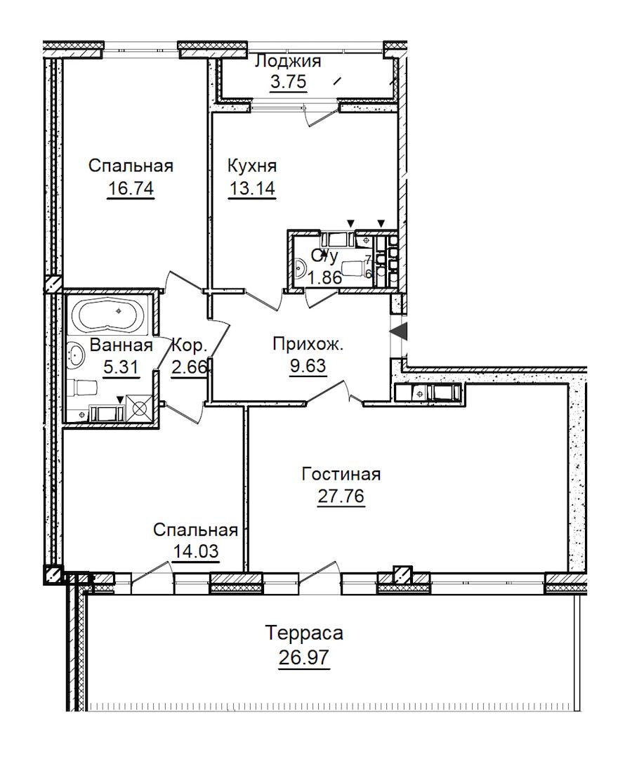 3-комнатная 101 м<sup>2</sup> на 7 этаже