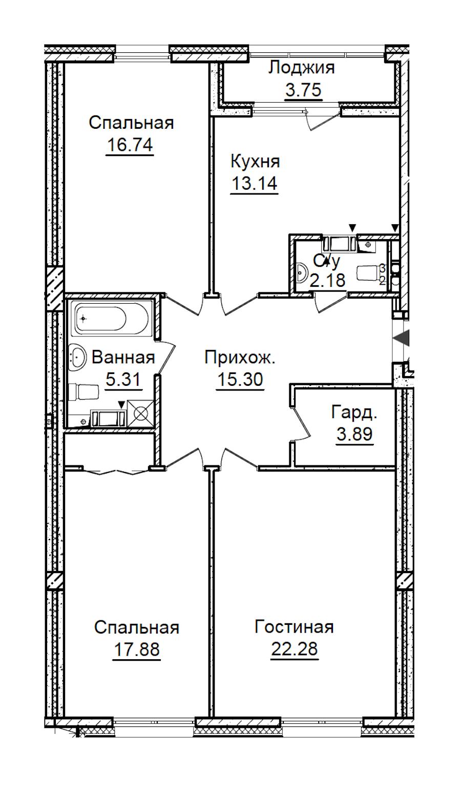 3-комнатная 100 м<sup>2</sup> на 3 этаже
