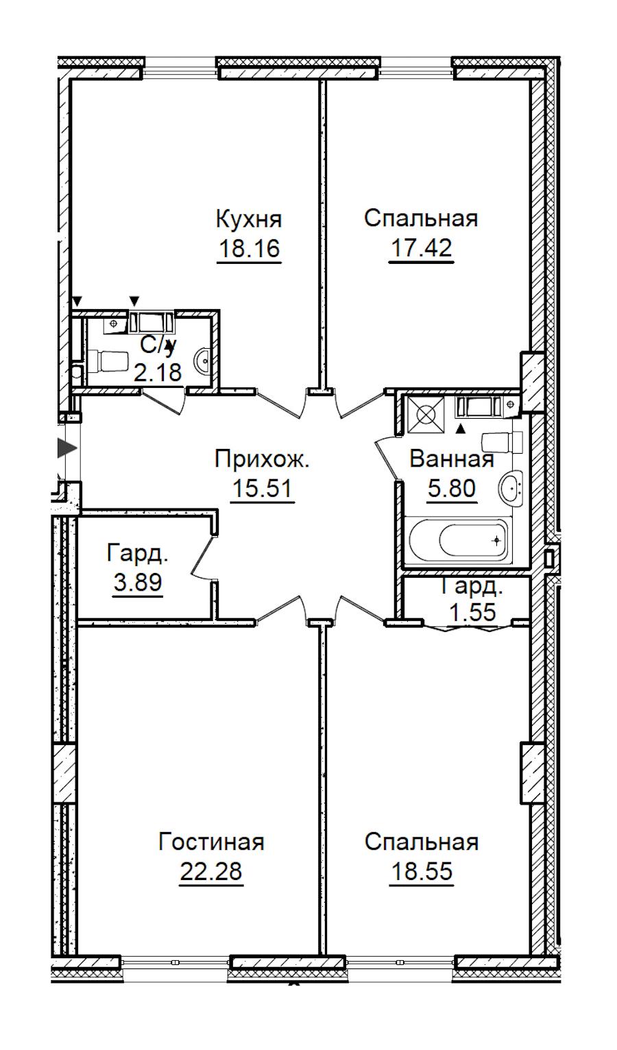 3-комнатная 105 м<sup>2</sup> на 2 этаже