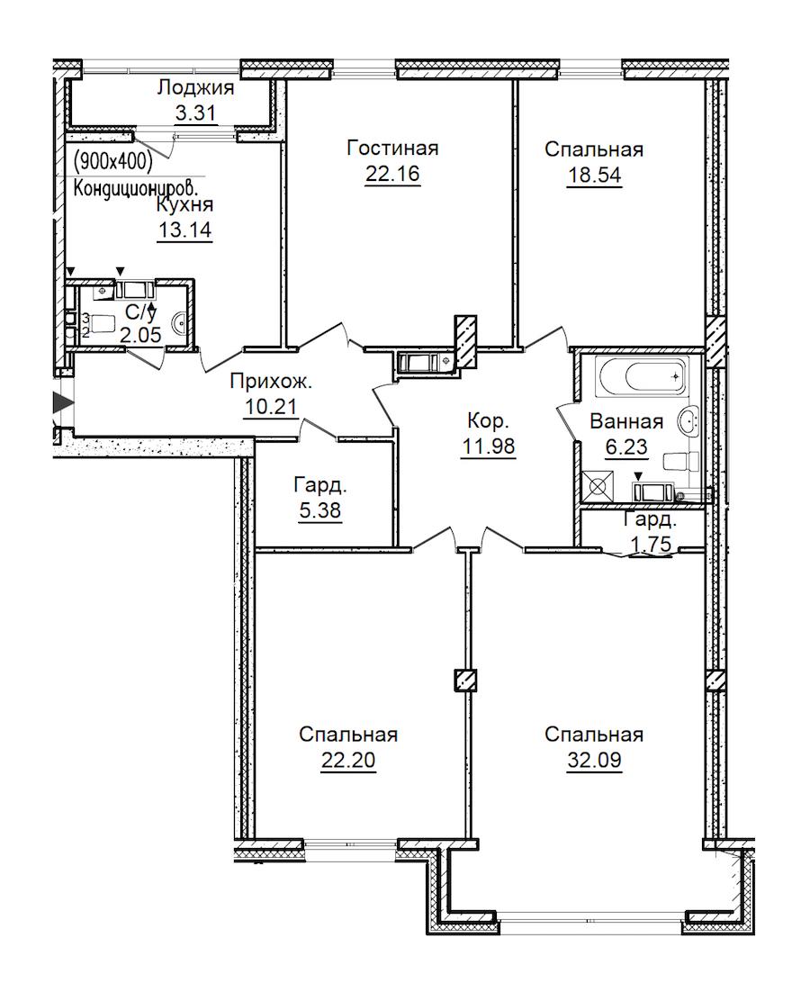 4-комнатная 147 м<sup>2</sup> на 3 этаже