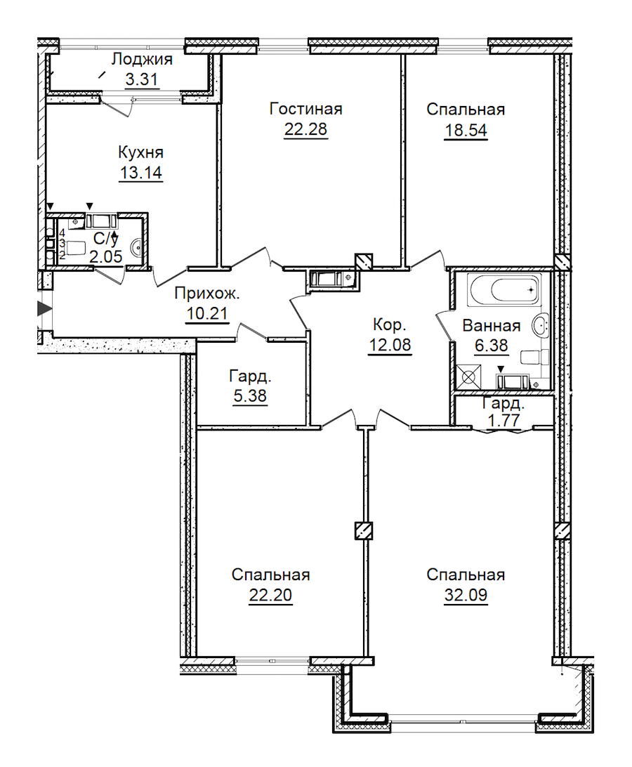 4-комнатная 147 м<sup>2</sup> на 4 этаже