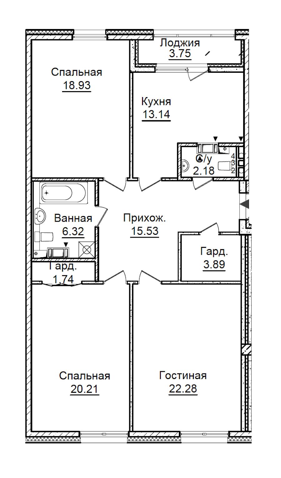 3-комнатная 106 м<sup>2</sup> на 4 этаже