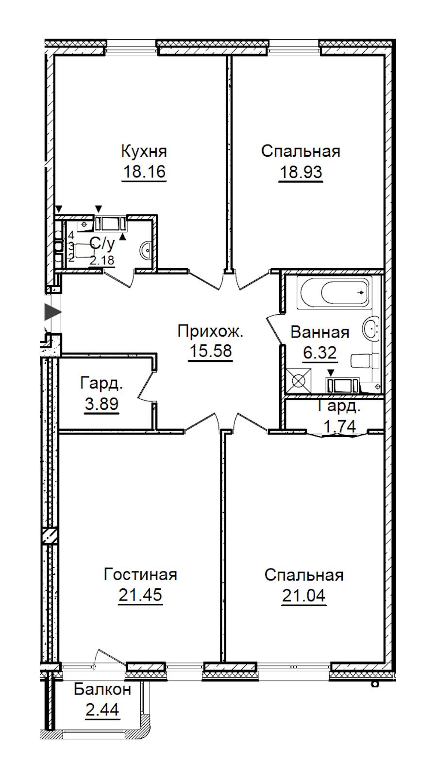 3-комнатная 110 м<sup>2</sup> на 3 этаже
