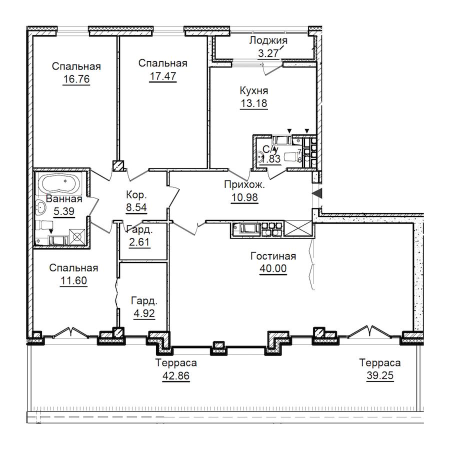 4-комнатная 147 м<sup>2</sup> на 7 этаже