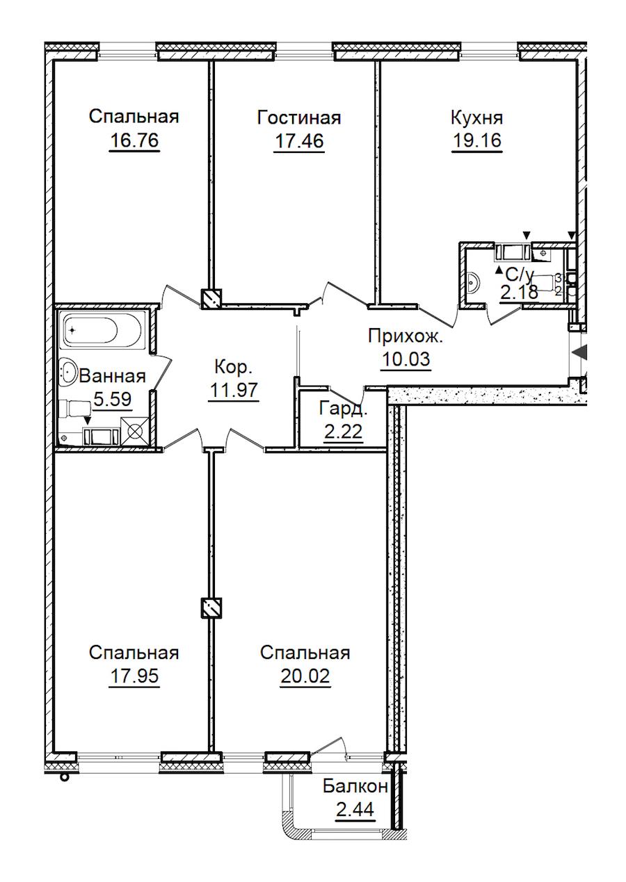 4-комнатная 124 м<sup>2</sup> на 3 этаже