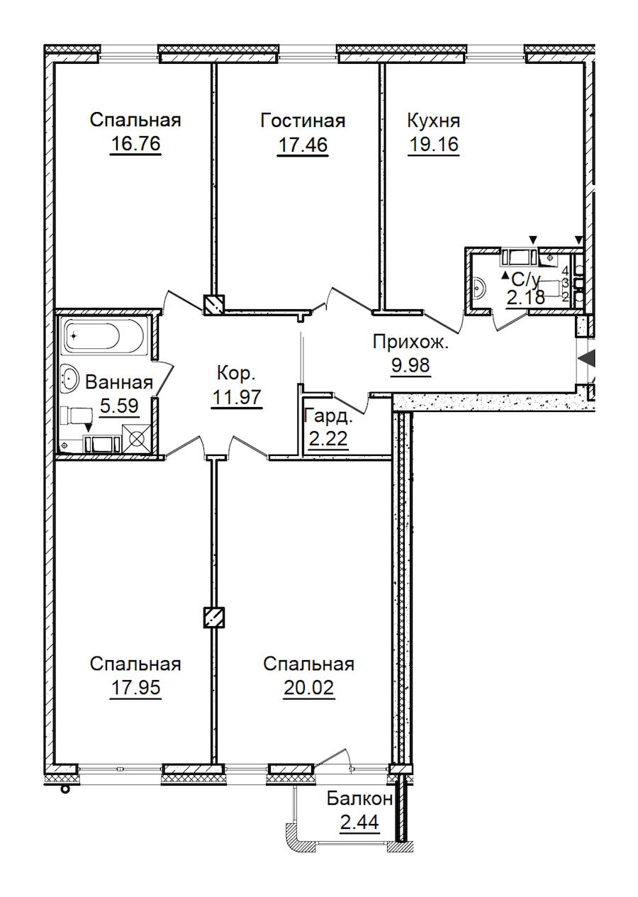 4-комнатная 124 м<sup>2</sup> на 4 этаже