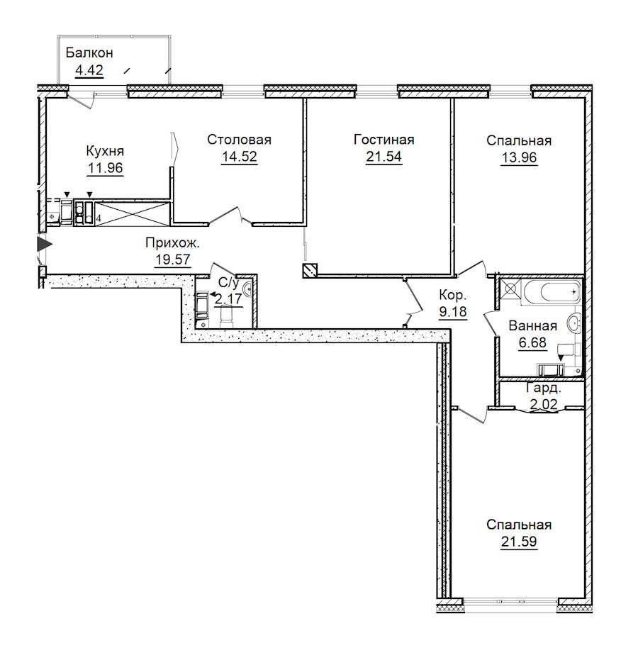 3-комнатная 124 м<sup>2</sup> на 4 этаже