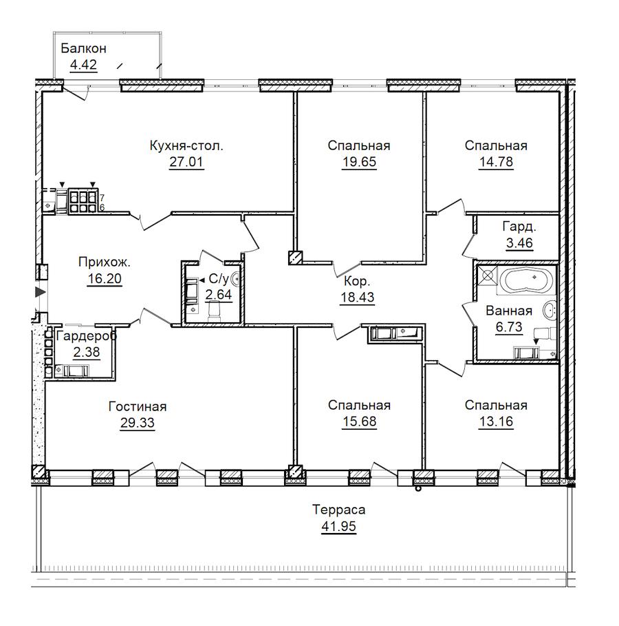 5-комнатная 183 м<sup>2</sup> на 7 этаже