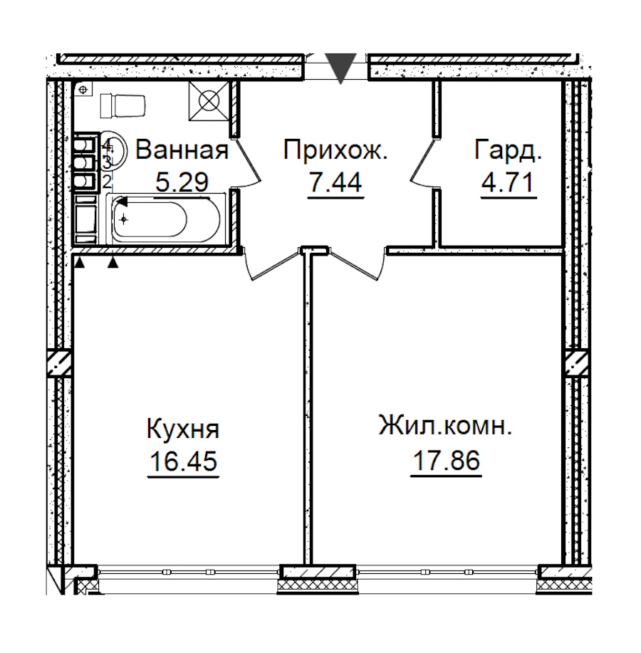 1-комнатная 51 м<sup>2</sup> на 4 этаже