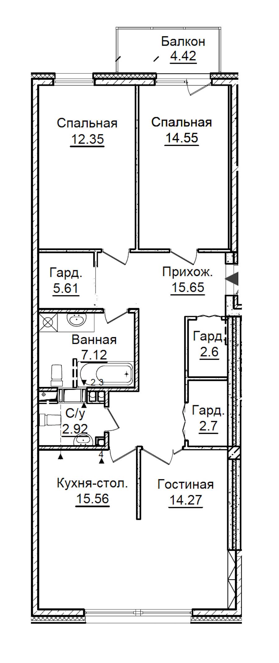 3-комнатная 94 м<sup>2</sup> на 4 этаже