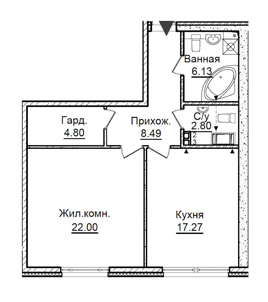 1-комнатная 61 м<sup>2</sup> на 3 этаже
