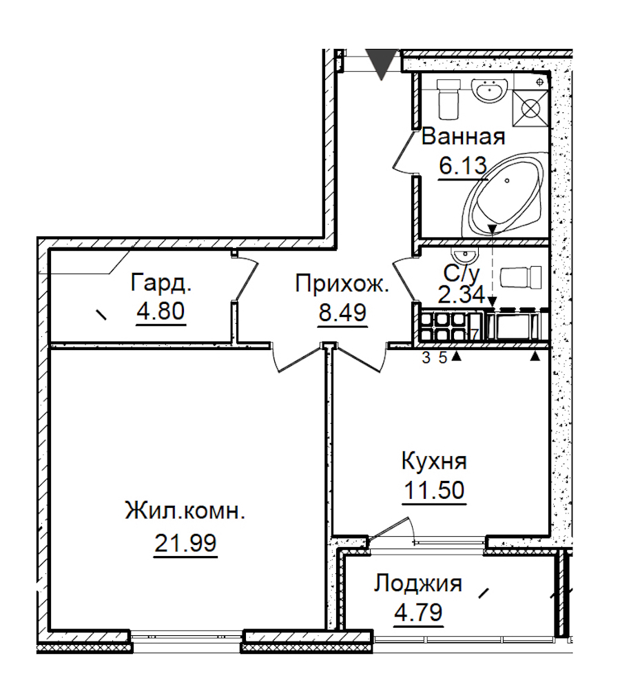 1-комнатная 57 м<sup>2</sup> на 7 этаже
