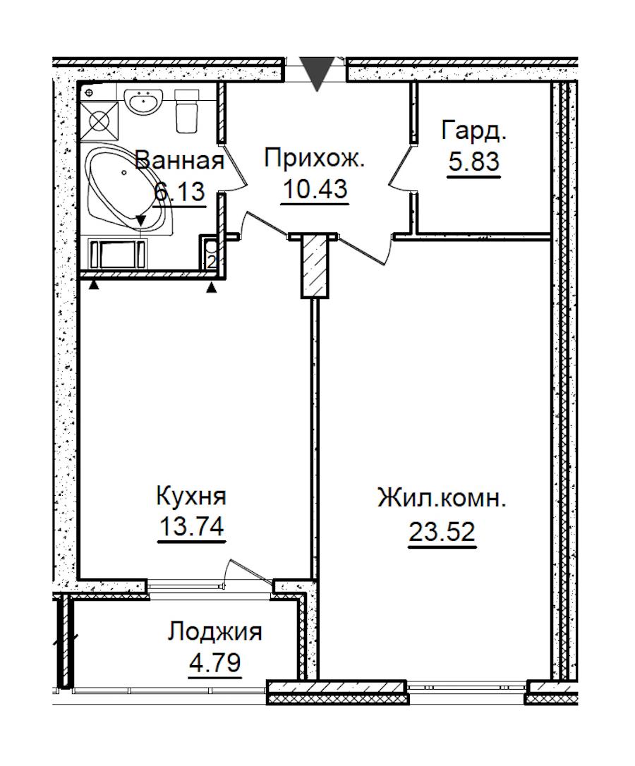 1-комнатная 62 м<sup>2</sup> на 4 этаже