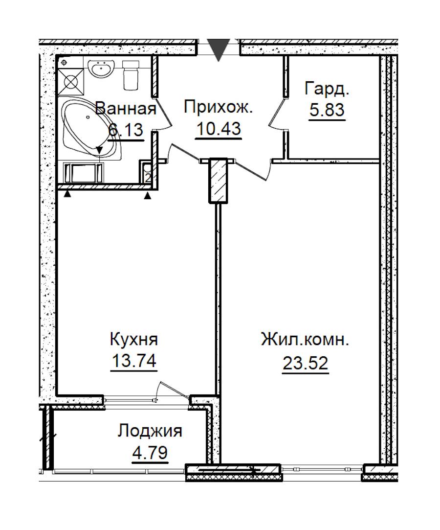 1-комнатная 62 м<sup>2</sup> на 7 этаже