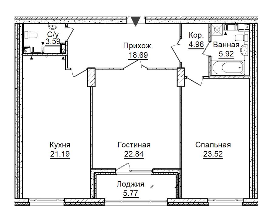 2-комнатная 104 м<sup>2</sup> на 7 этаже