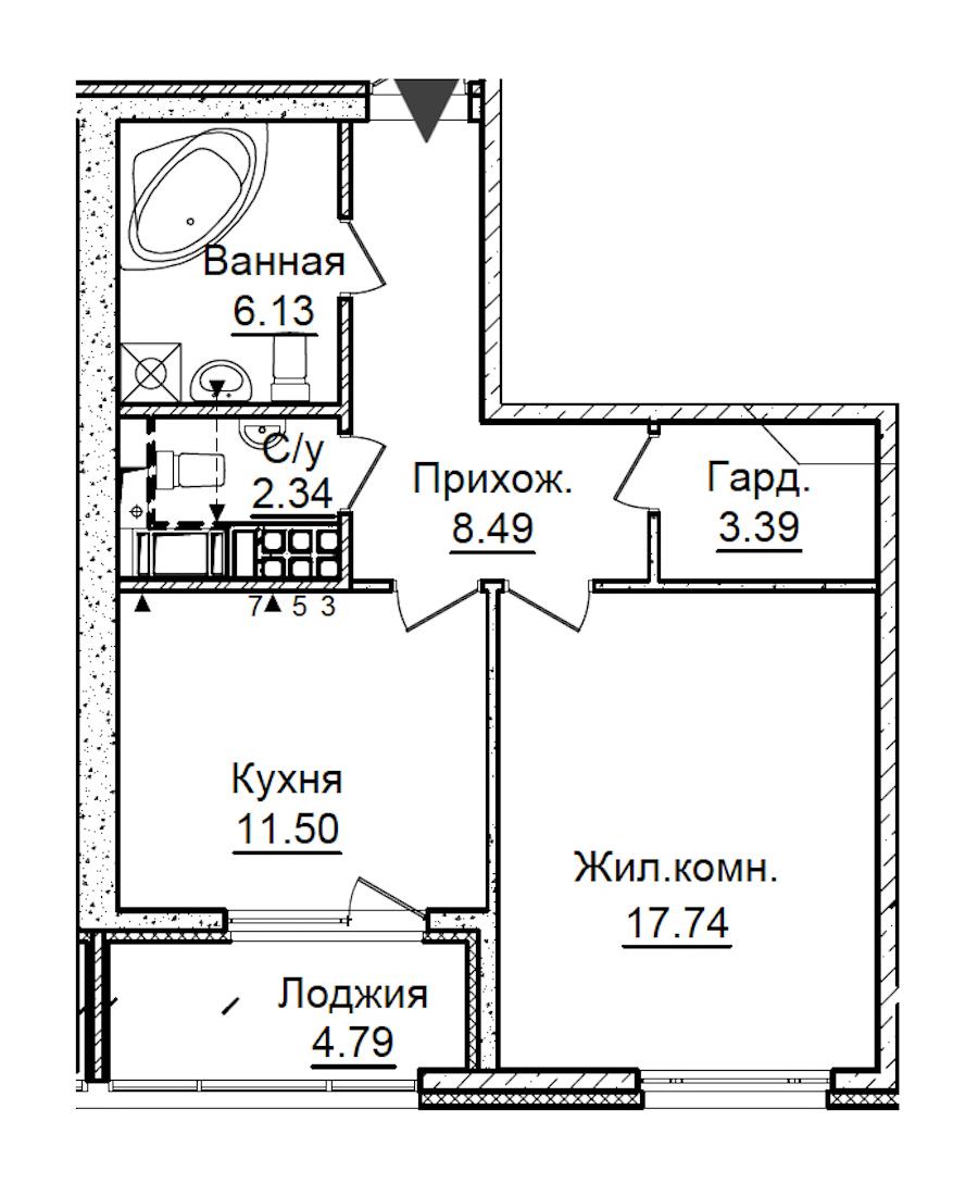 1-комнатная 51 м<sup>2</sup> на 7 этаже