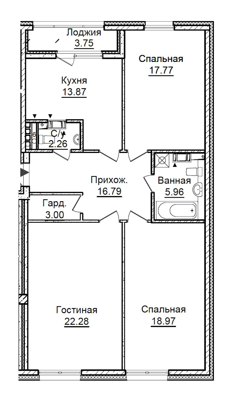 3-комнатная 102 м<sup>2</sup> на 6 этаже
