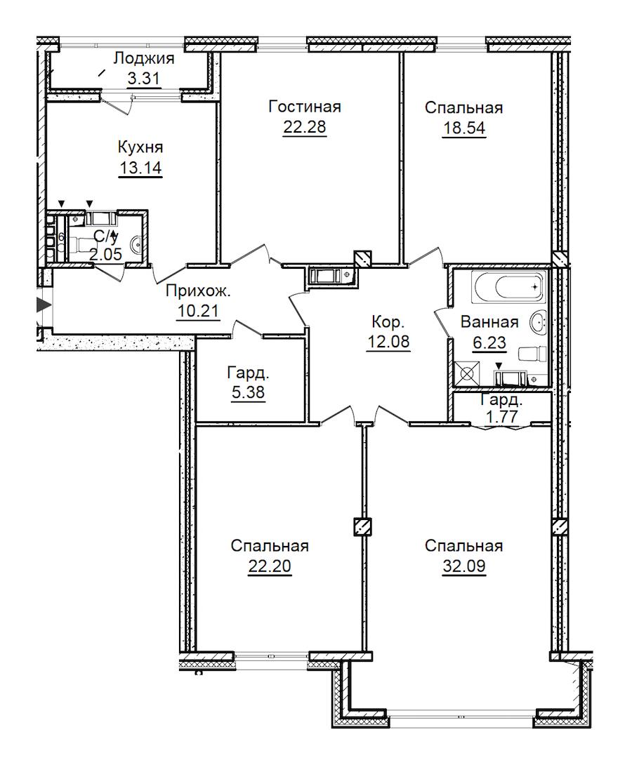 4-комнатная 147 м<sup>2</sup> на 5 этаже