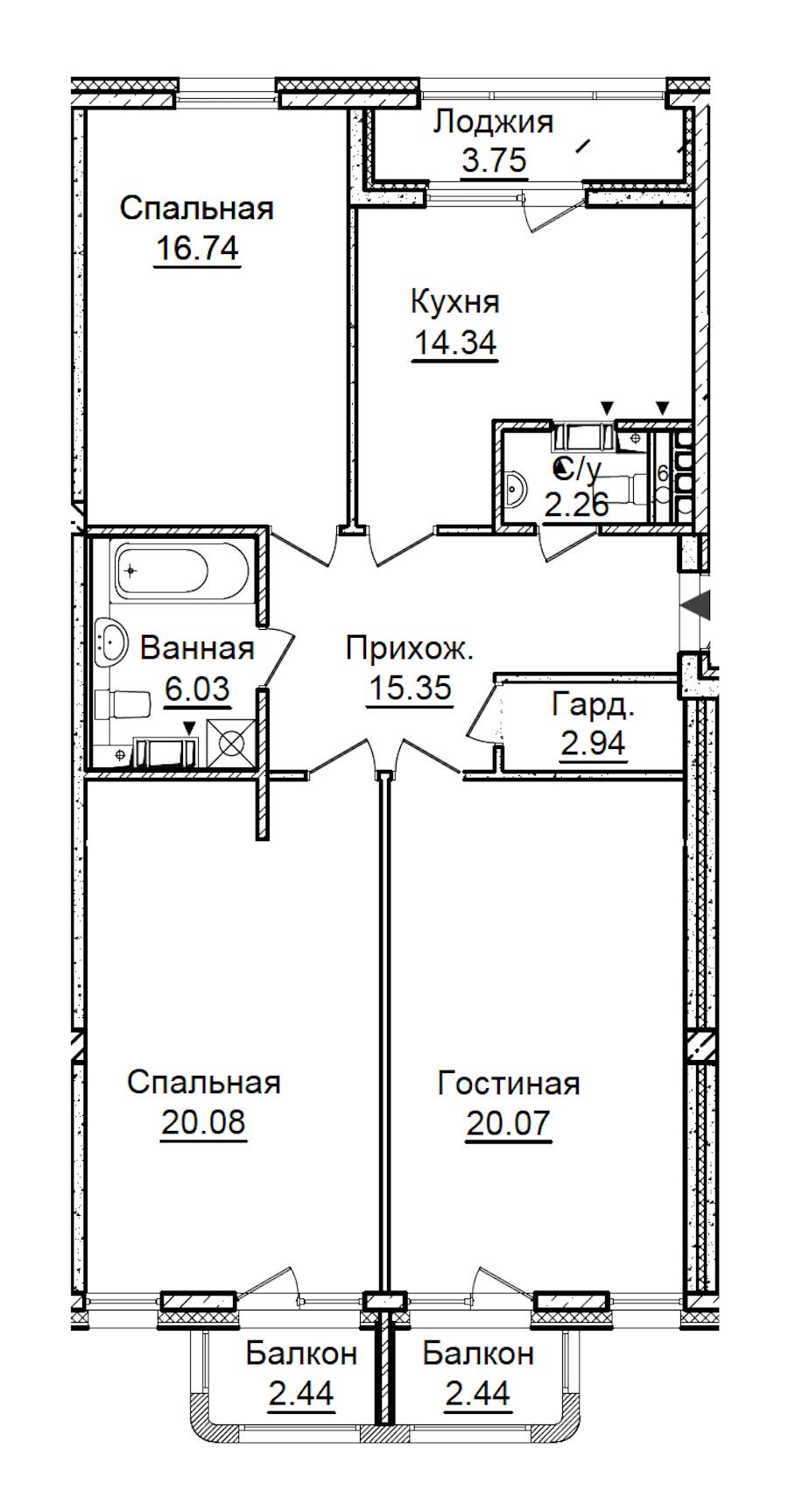 3-комнатная 101 м<sup>2</sup> на 5 этаже