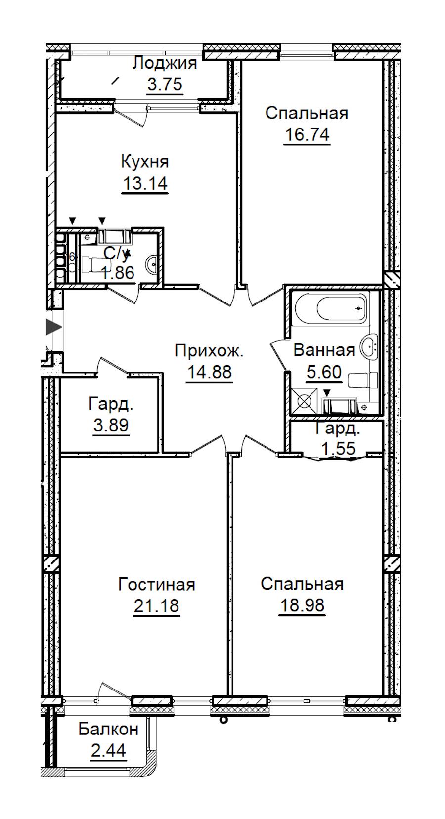 3-комнатная 100 м<sup>2</sup> на 5 этаже