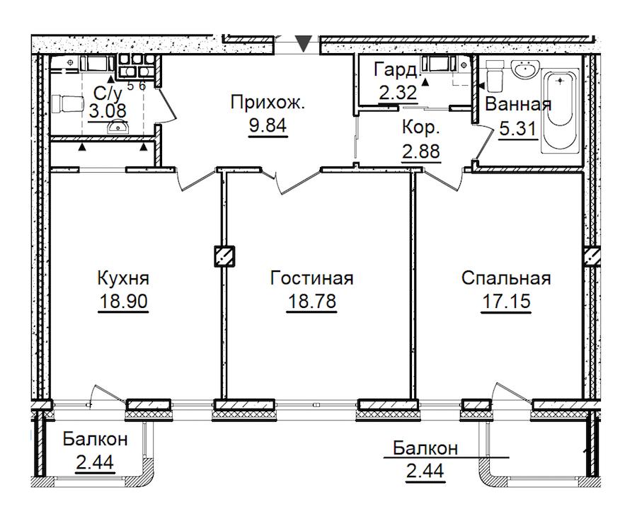 2-комнатная 79 м<sup>2</sup> на 6 этаже