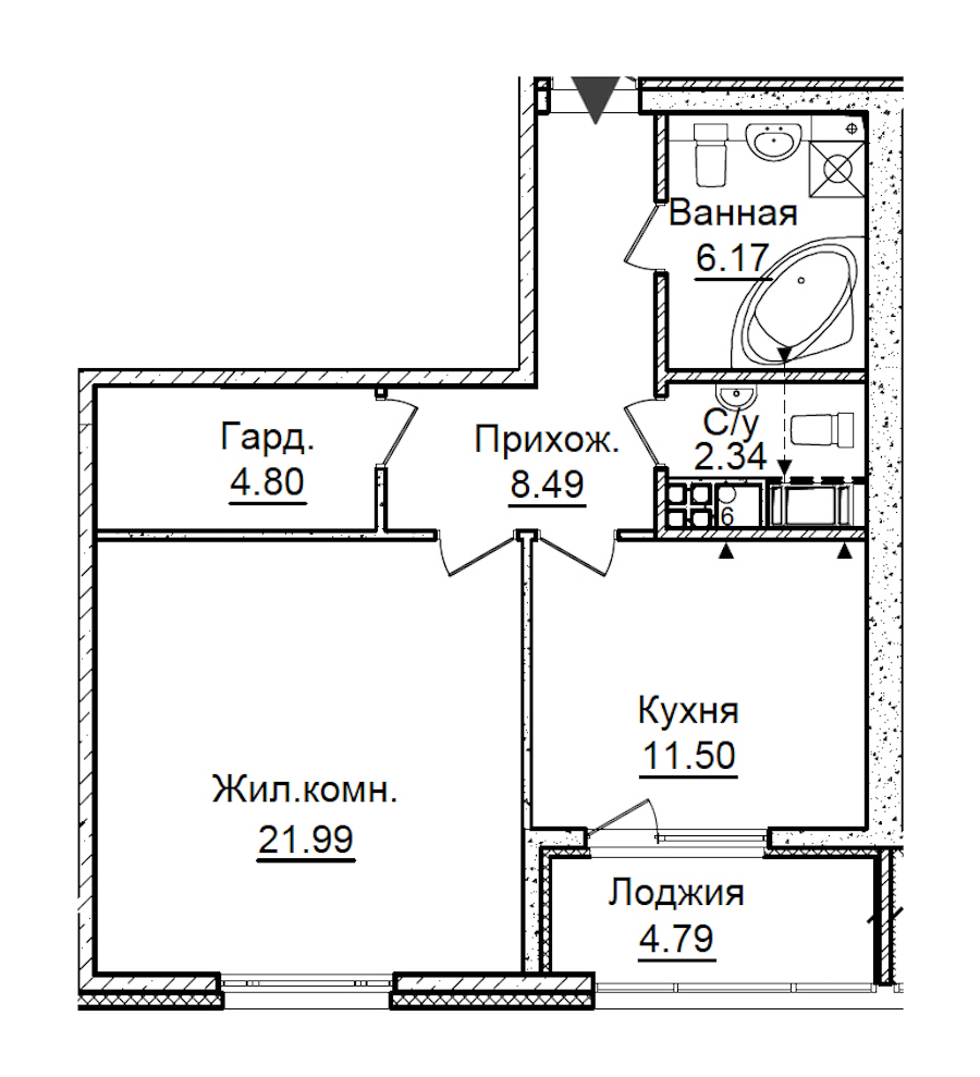 1-комнатная 57 м<sup>2</sup> на 5 этаже