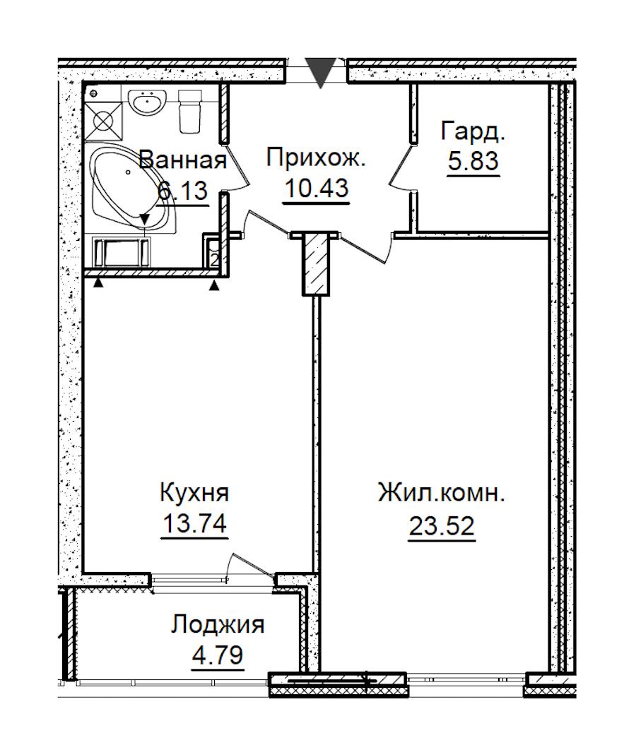 1-комнатная 62 м<sup>2</sup> на 5 этаже