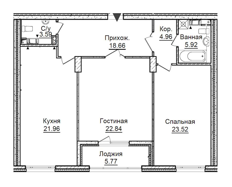 2-комнатная 104 м<sup>2</sup> на 6 этаже