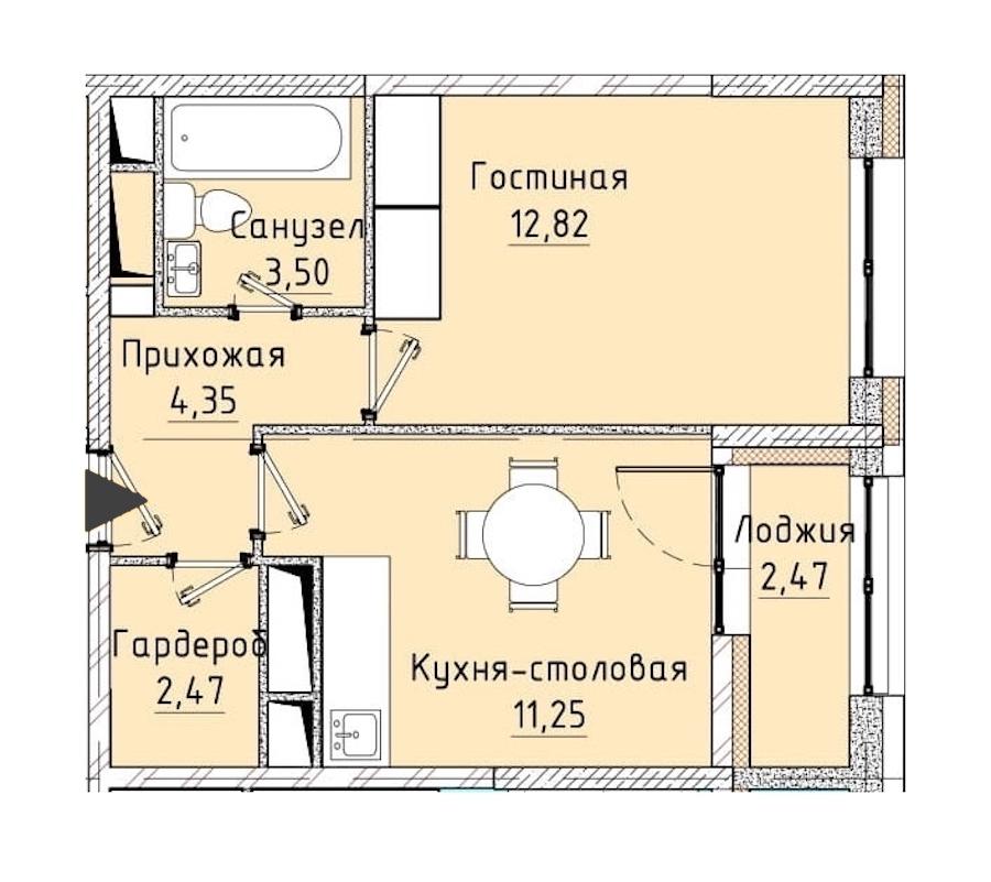 1-комнатная 35 м<sup>2</sup> на 10 этаже