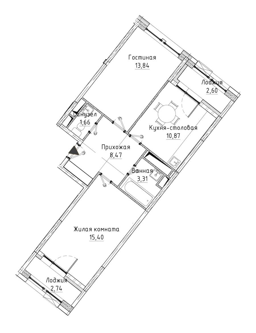 2-комнатная 56 м<sup>2</sup> на 11 этаже