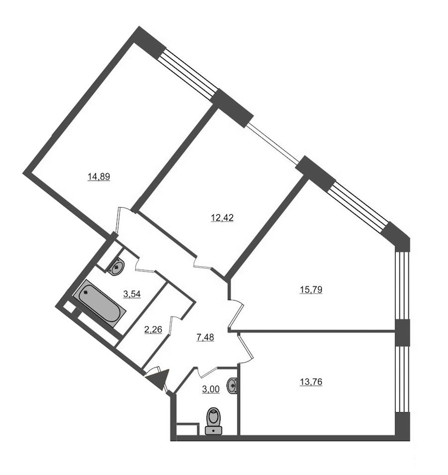 3-комнатная 73 м<sup>2</sup> на 1 этаже