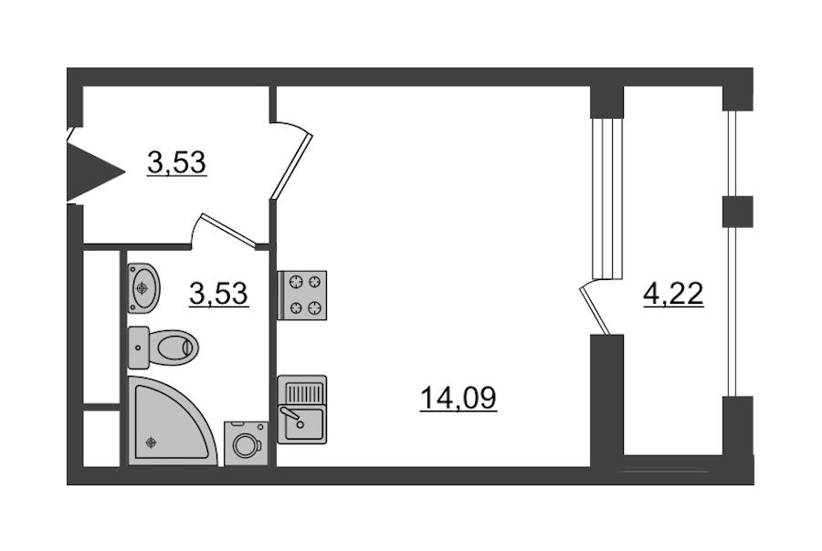 Студия 23 м<sup>2</sup> на 5 этаже