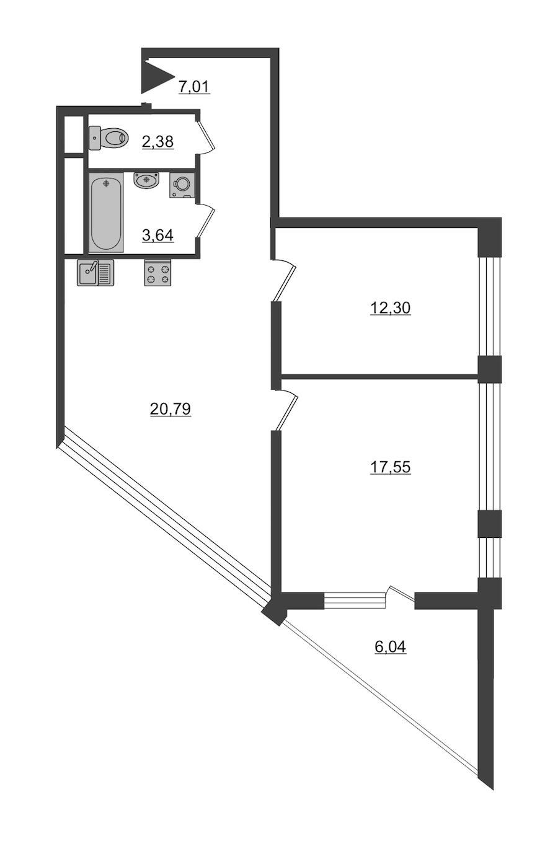 2-комнатная 66 м<sup>2</sup> на 12 этаже
