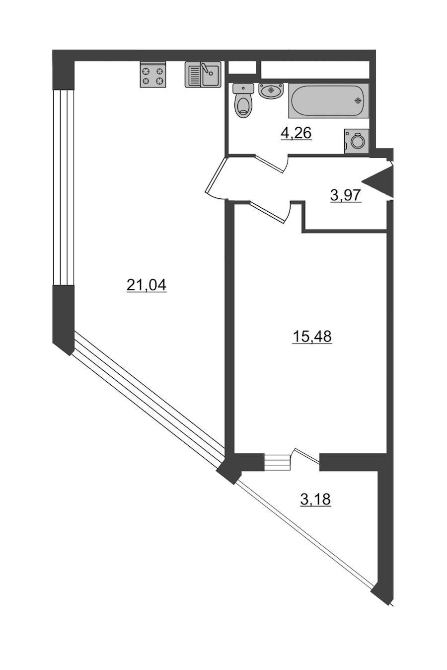 1-комнатная 46 м<sup>2</sup> на 9 этаже
