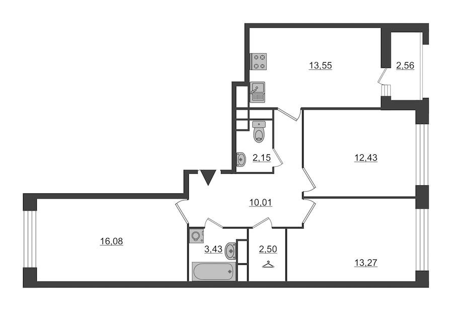 3-комнатная 74 м<sup>2</sup> на 3 этаже