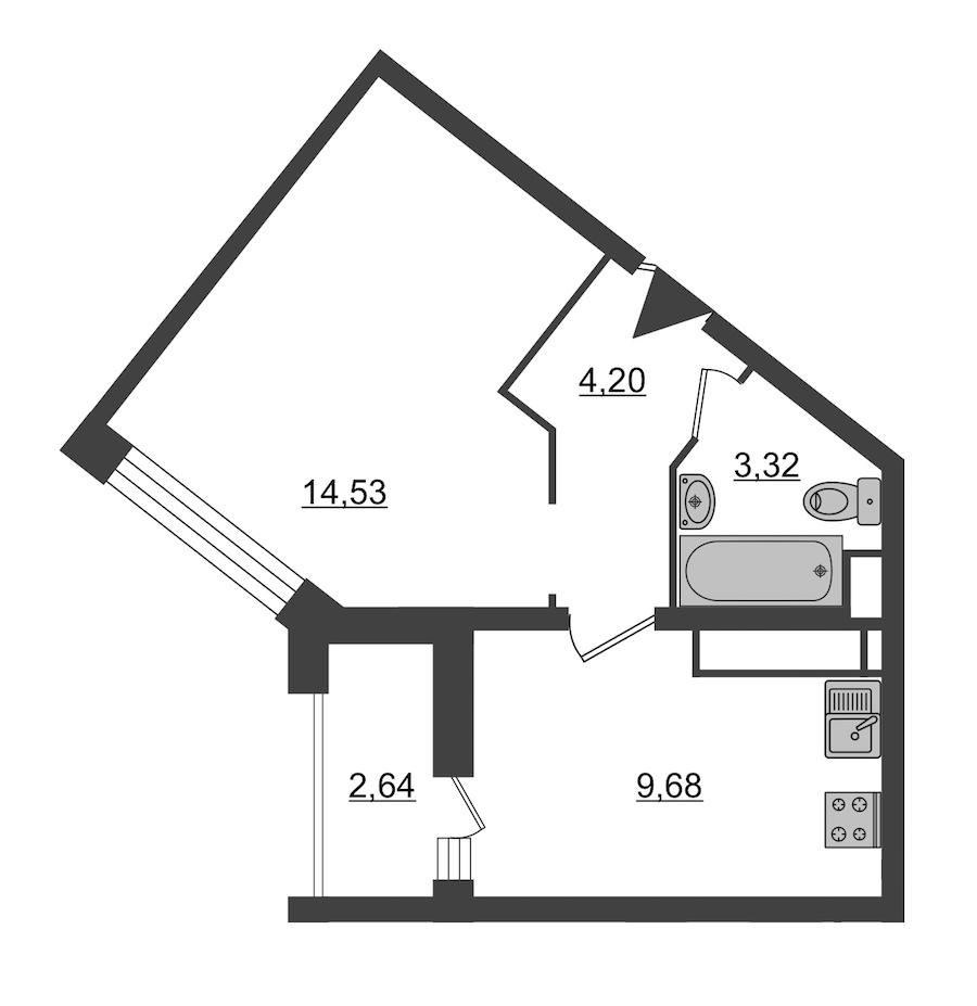 1-комнатная 33 м<sup>2</sup> на 3 этаже