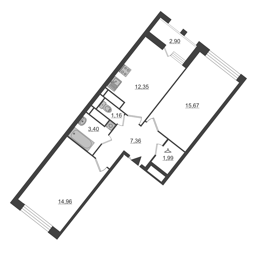 2-комнатная 58 м<sup>2</sup> на 3 этаже