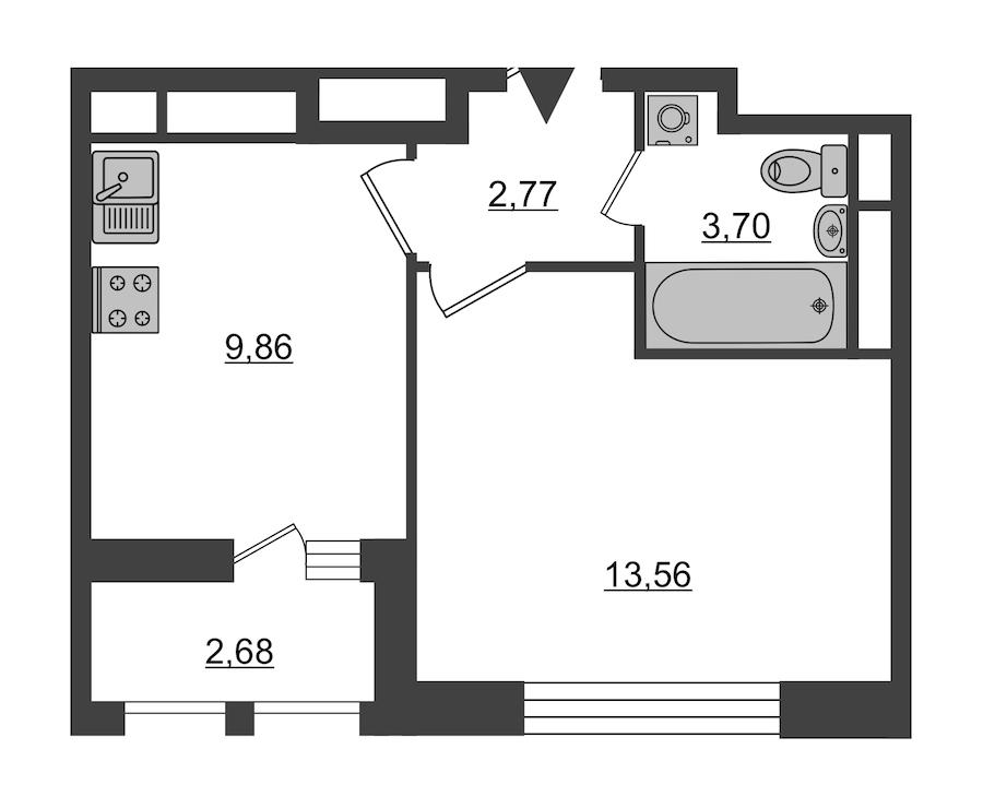 1-комнатная 31 м<sup>2</sup> на 5 этаже