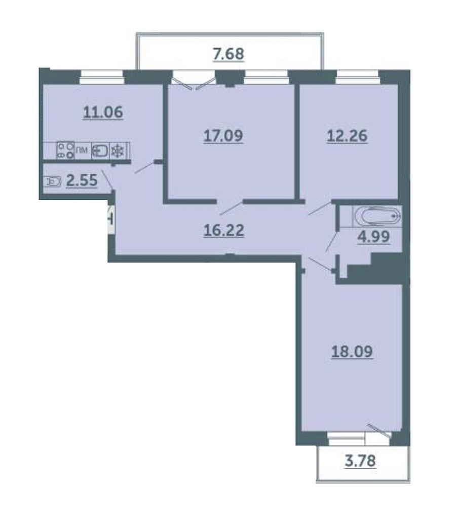 3-комнатная 85 м<sup>2</sup> на 2 этаже