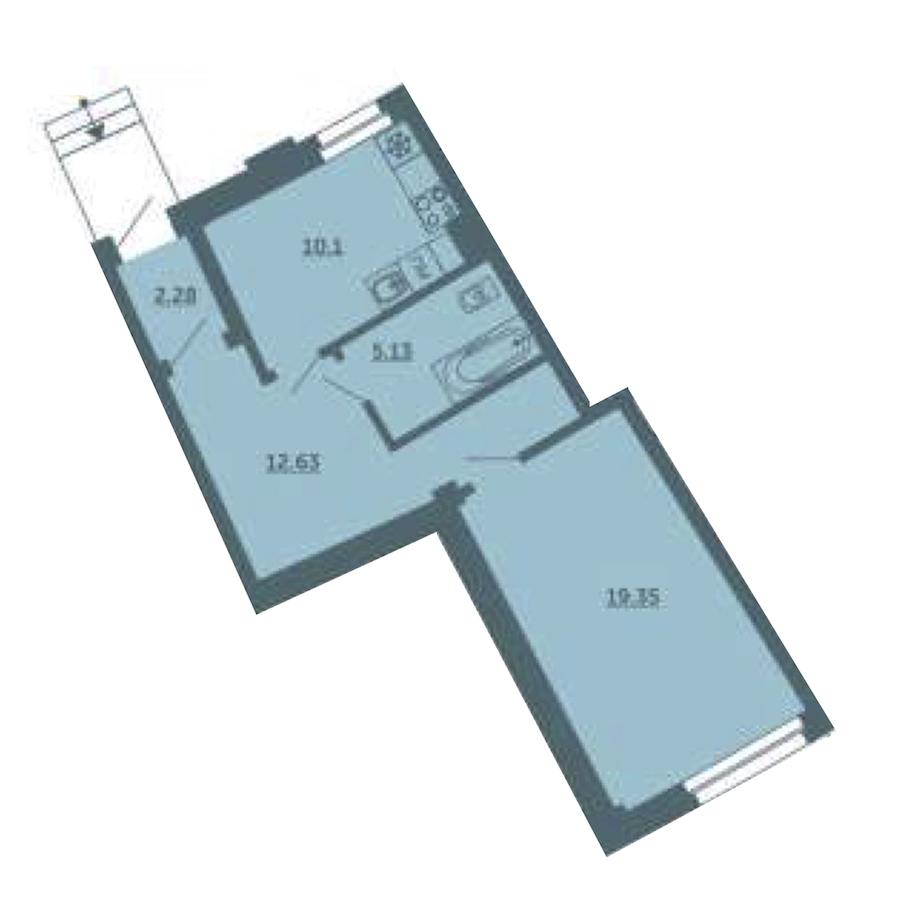 1-комнатная 49 м<sup>2</sup> на 1 этаже