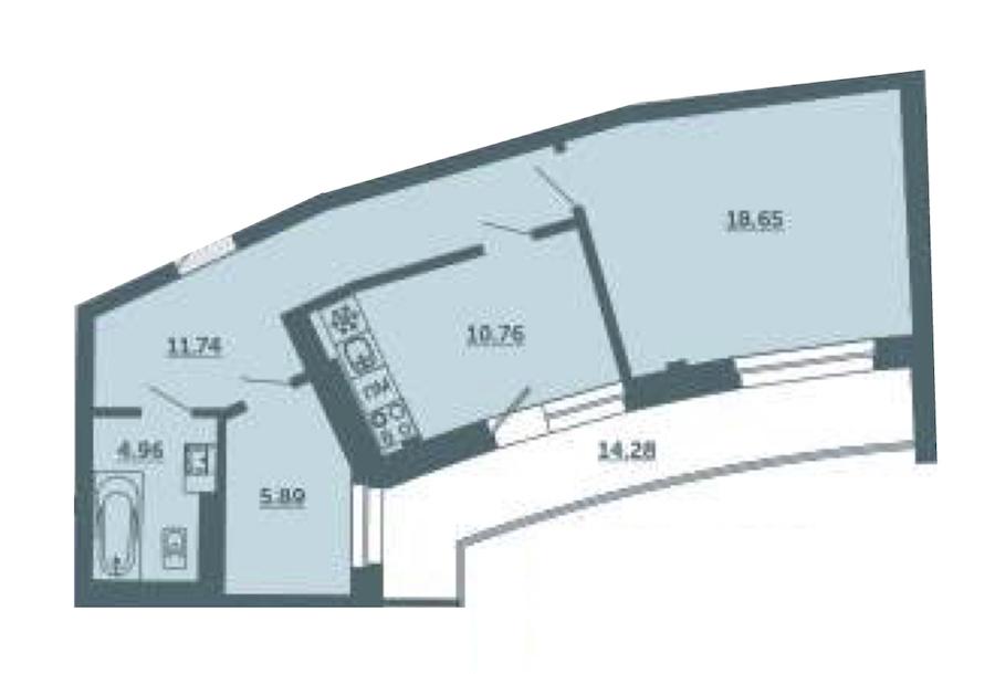 1-комнатная 56 м<sup>2</sup> на 2 этаже